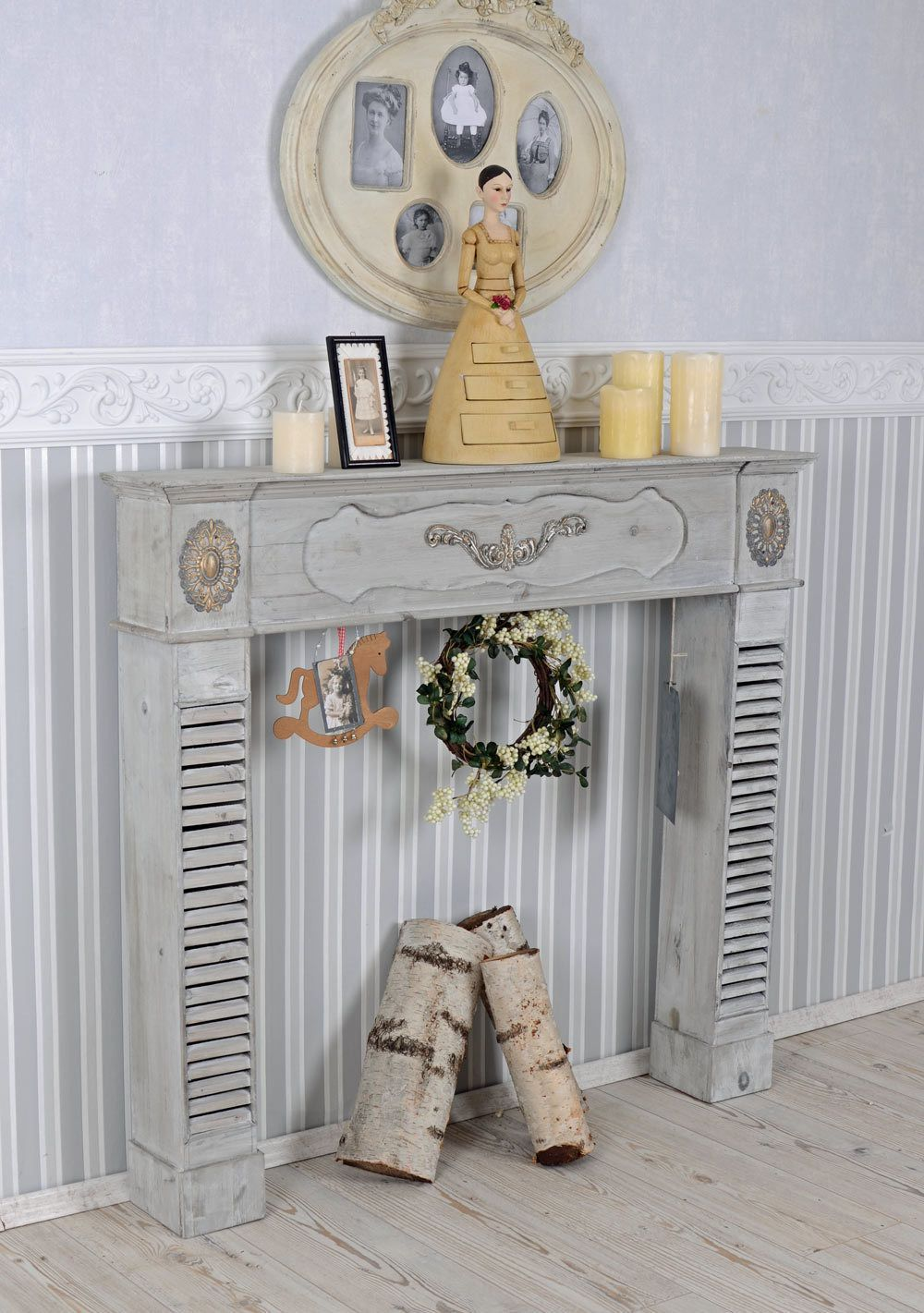 Camino A Legna Ebay Wood Burning Fireplace Shabby Chic Console Surround Antique Style