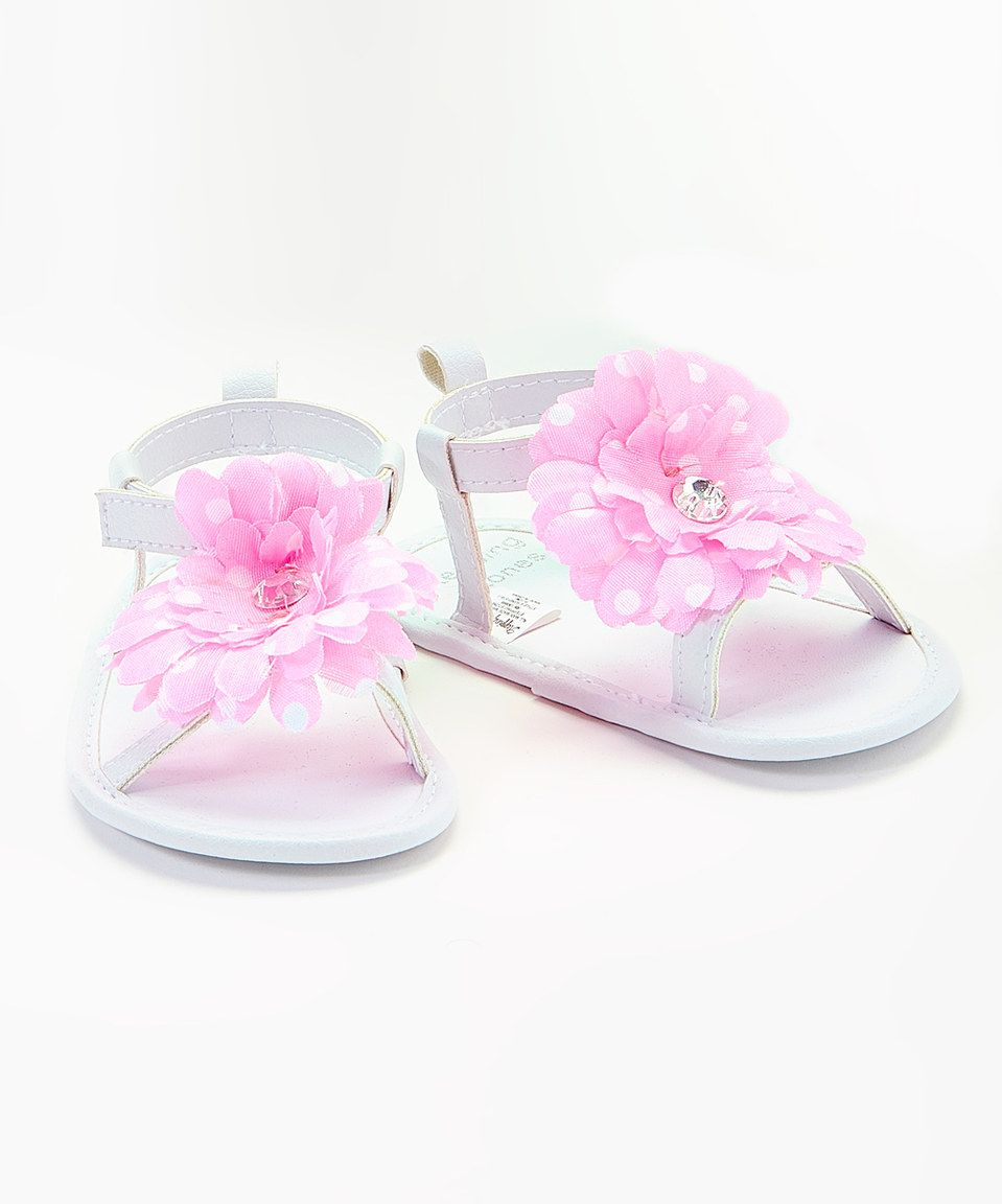 454e22f7a95e Look what I found on  zulily! White   Pink Flower Soft Sole Sandal by Stepping  Stones  zulilyfinds