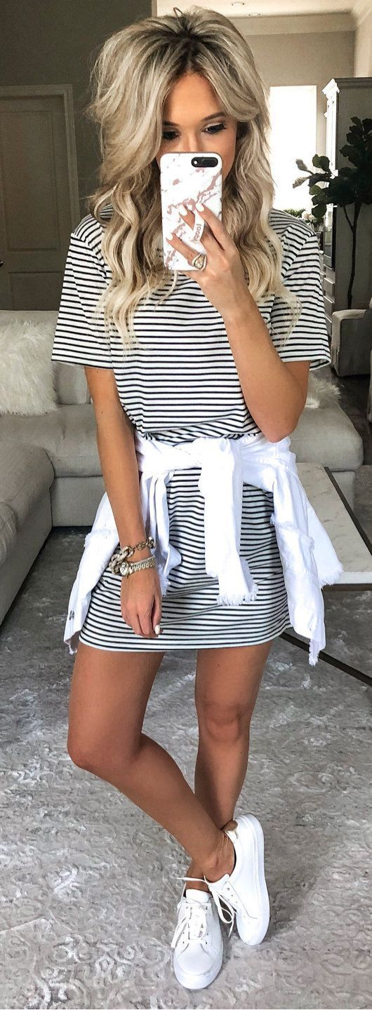 Photo of #summer #outfits black and white striped short-sleeved dress. – Fashion