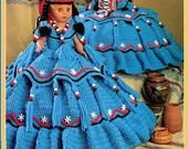 Vintage Crochet Pattern 13 Cactus Flower Indian Princess Pillow or Bed Doll Outfit Dress PDF Instant Digital Download Papoose 10 Ply