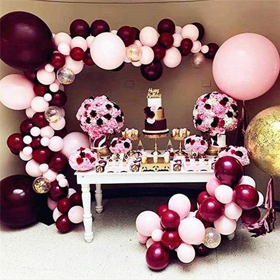 Burgundy Pink Balloons Garland Kit Wine Latex Peal Balloons Arch For Birthday Wedding Engagement Bridal Shower Party Decorations #decorationengagement