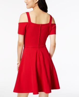 ef9c35828 Emerald Sundae Juniors' Cold-Shoulder Fit & Flare Dress - Red XXS ...