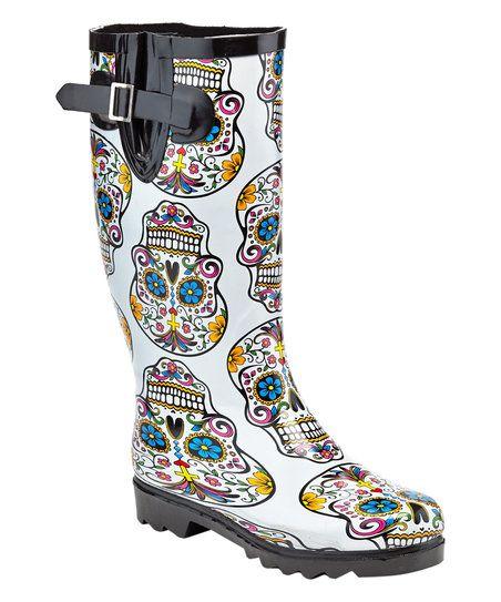 Henry Ferrera Beige Sugar Skull Rain Boot  0c104ee6b8f