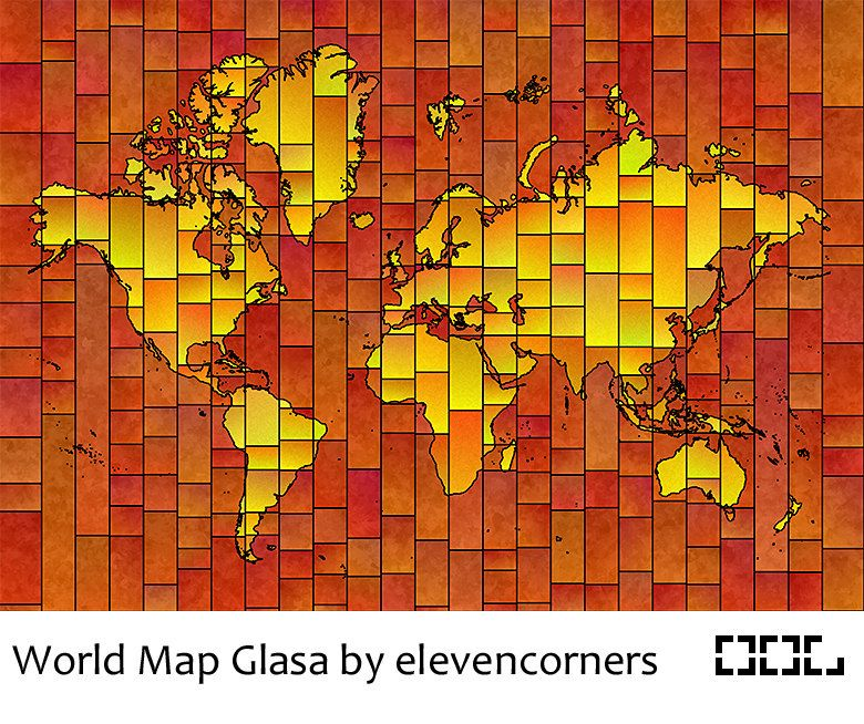 World Map Glasa  a map of the world wall art print by