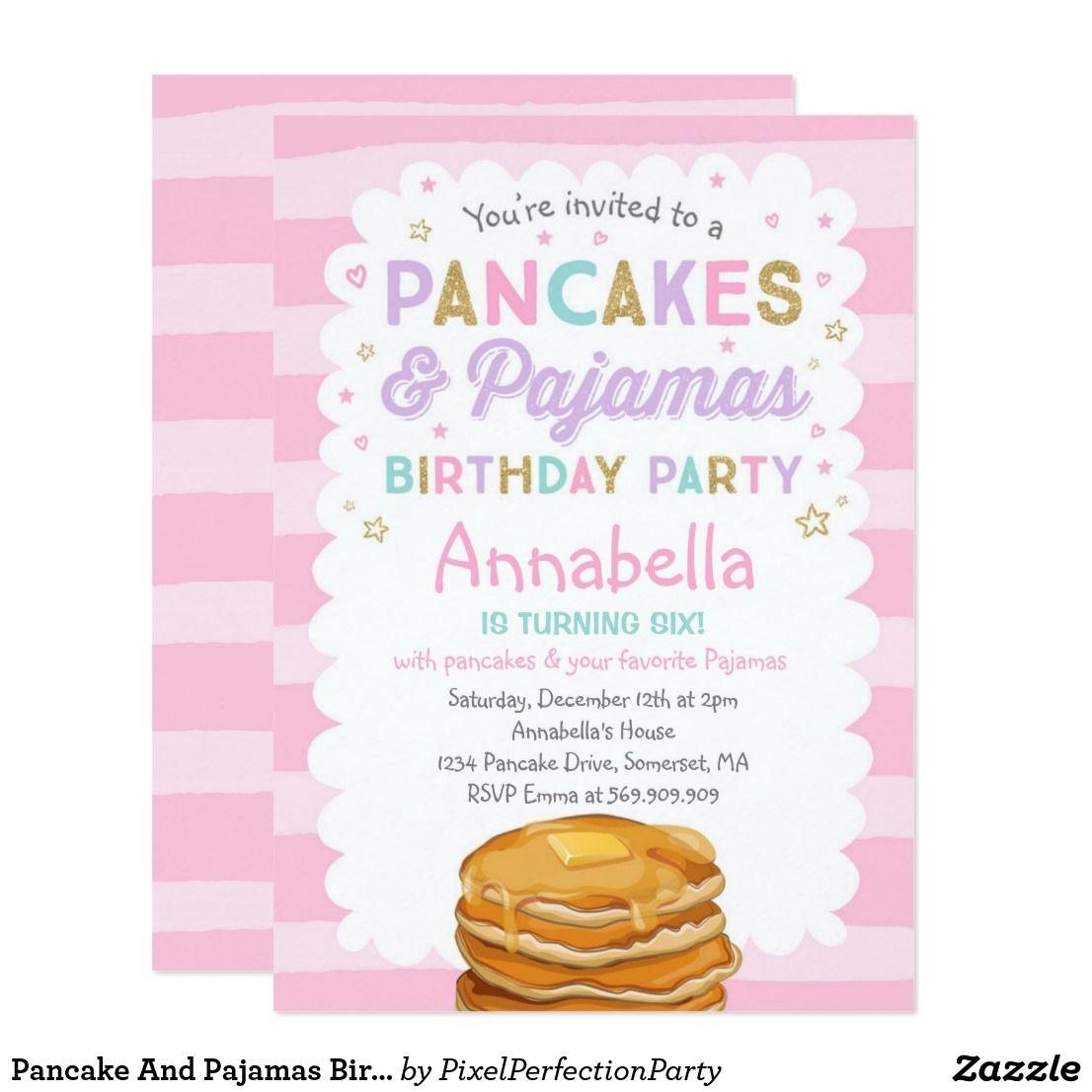 Pancake And Pajamas Birthday Invitation PJ\'s Party | Invitations ...