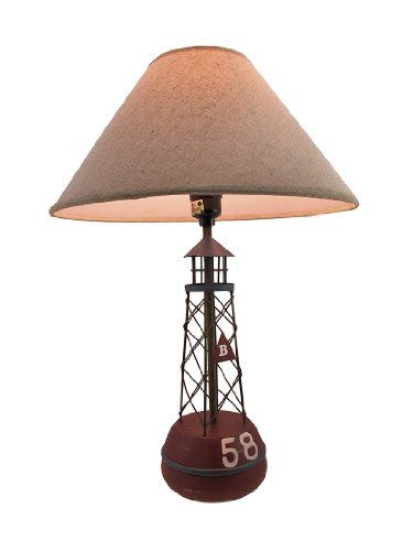 Red Buoy Nautical Table Lamp With Linen Shade Things2Die4,http://www.