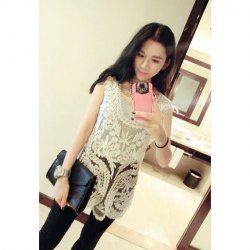 $8.24 Casual Style Embroidery Pattern U-Neck Sleeveless Solid Color Vest For Women