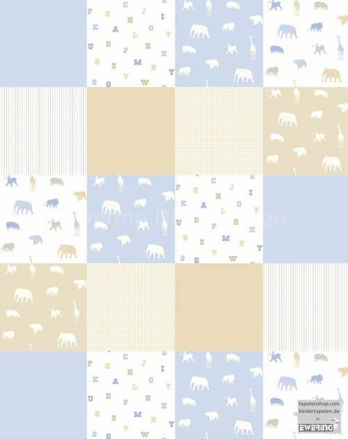 Cool Kindertapete f r Kinderzimmer Tiere Patchwork Muster wei