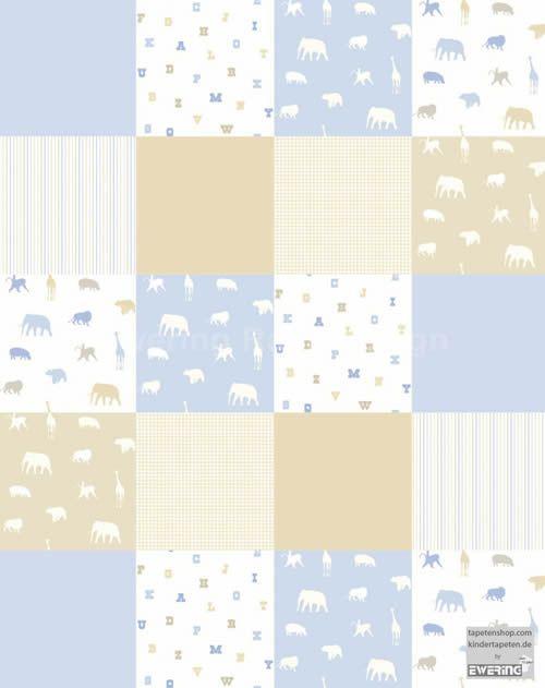 kindertapete f r kinderzimmer tiere patchwork muster wei bilder tapeten etc f r kinder. Black Bedroom Furniture Sets. Home Design Ideas