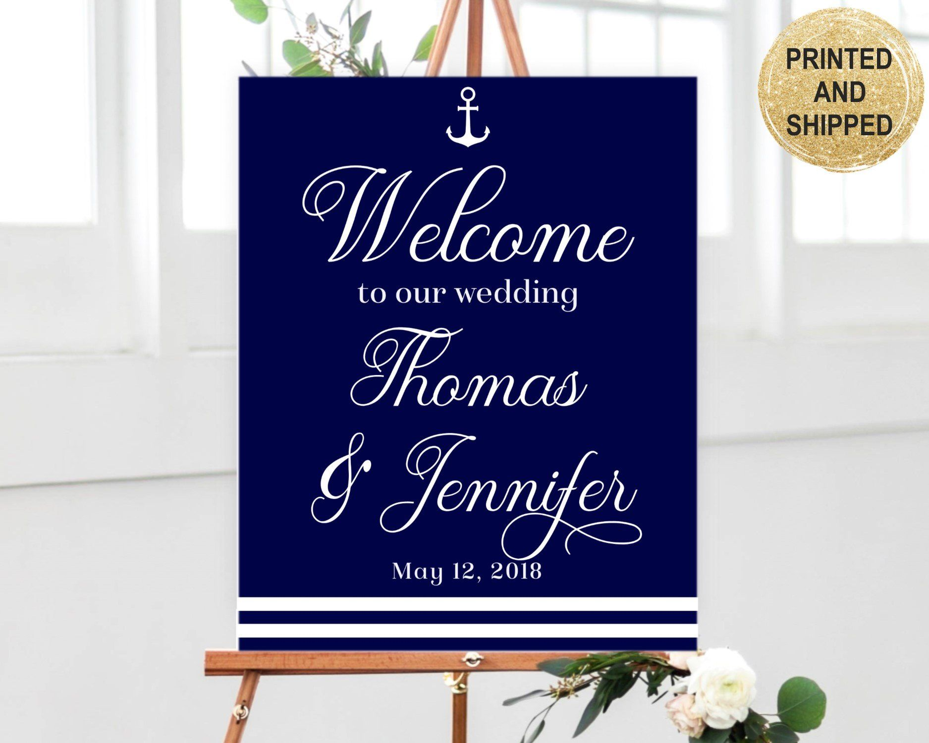Nautical Wedding Sign Printed on Poster, Foam