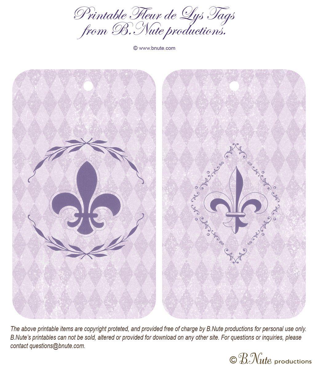 Bnute Productions Free Printable Fleur De Lys Tags Scrapbook Printables Diy Printables Free Printables