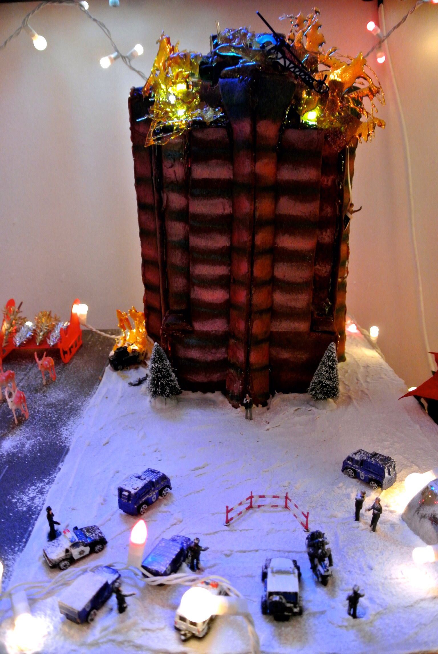 nakatomi gingerbread tower - flames created using melted sugar with ...