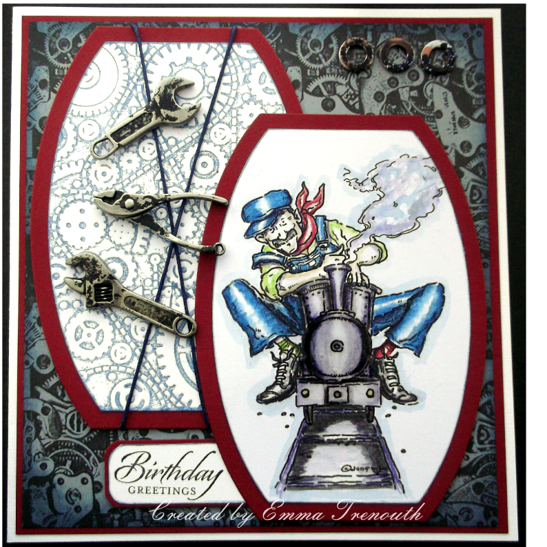 Male birthday card, Mo Manning 'the engineer' digi stamp, tim holtz embossing folder , sizzix dies, steam train, metal work,