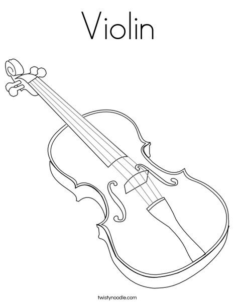 Violin Coloring Page Twisty Noodle Music Coloring Violin