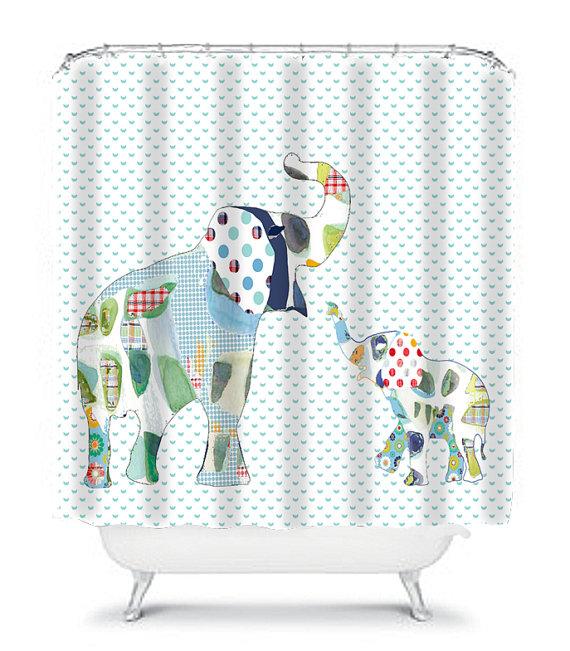 Elephant shower curtain, kids shower curtain, elephant bathroom ...
