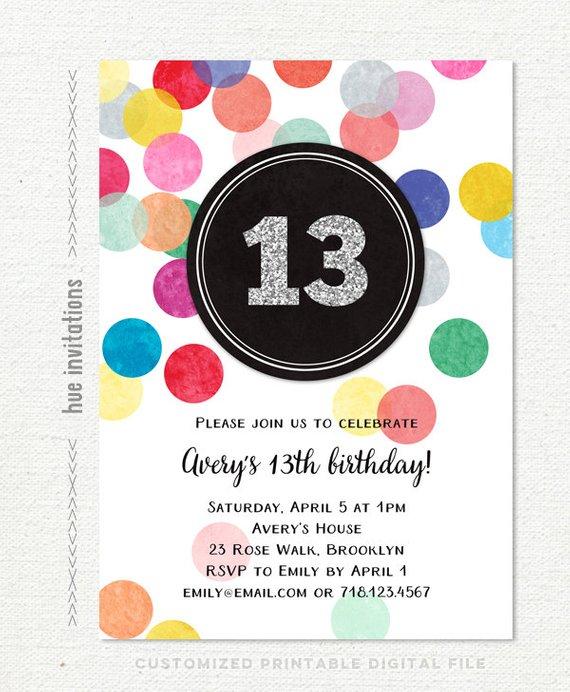 13th Birthday Invitations For Girls Rainbow Confetti Silver Glitter Teen Party Invite Cus