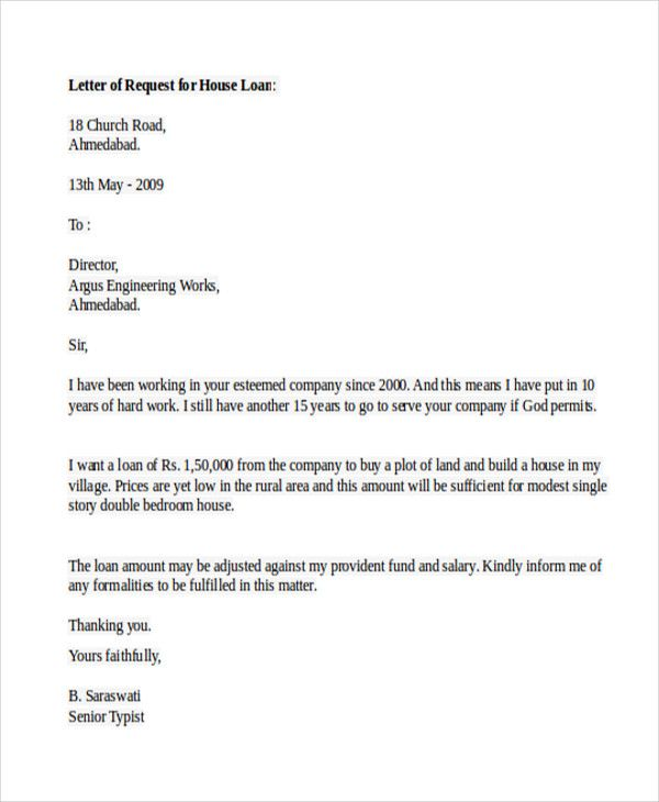 Sample Loan Application Letters Free Example Format Create