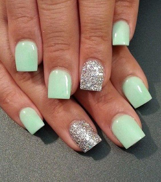 Light Sea Green And Silver Nail Polish Design Nails Art Desgin