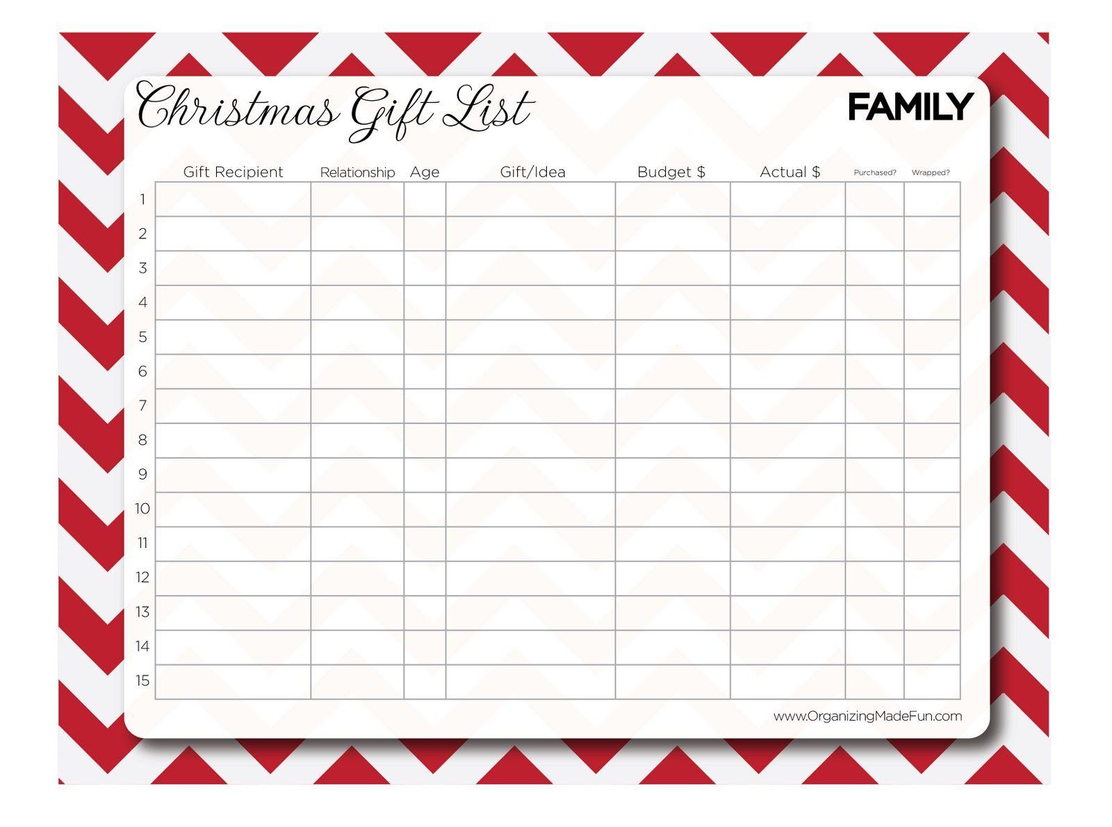 Familychristmas List Organizer Jpg Google Drive Christmas List Template Christmas Gift List Christmas Wish List Template