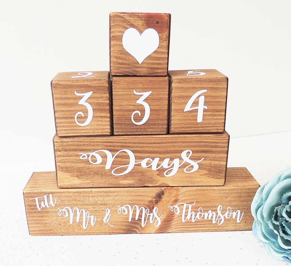 Wedding Countdown Gifts For Bride: Wedding Countdown, Personalised Gift, Wooden Countdown