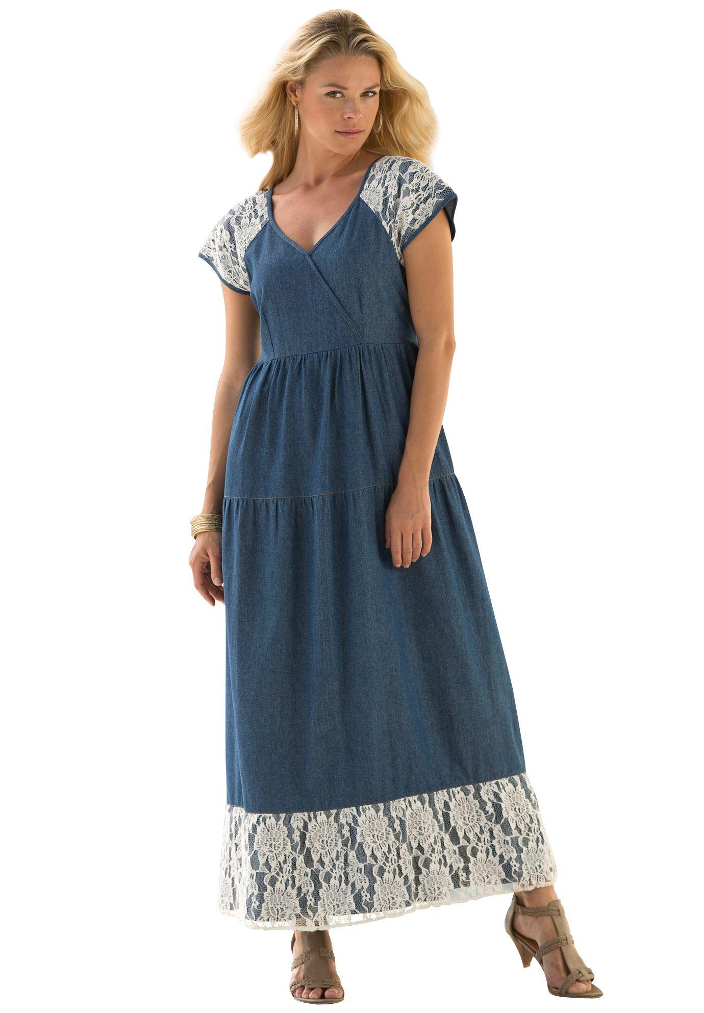 Denim Crochet Maxi Dress By Denim 24 7 Lace Dress With Sleeves Plus Size Outfits Maxi Dress [ 1986 x 1380 Pixel ]