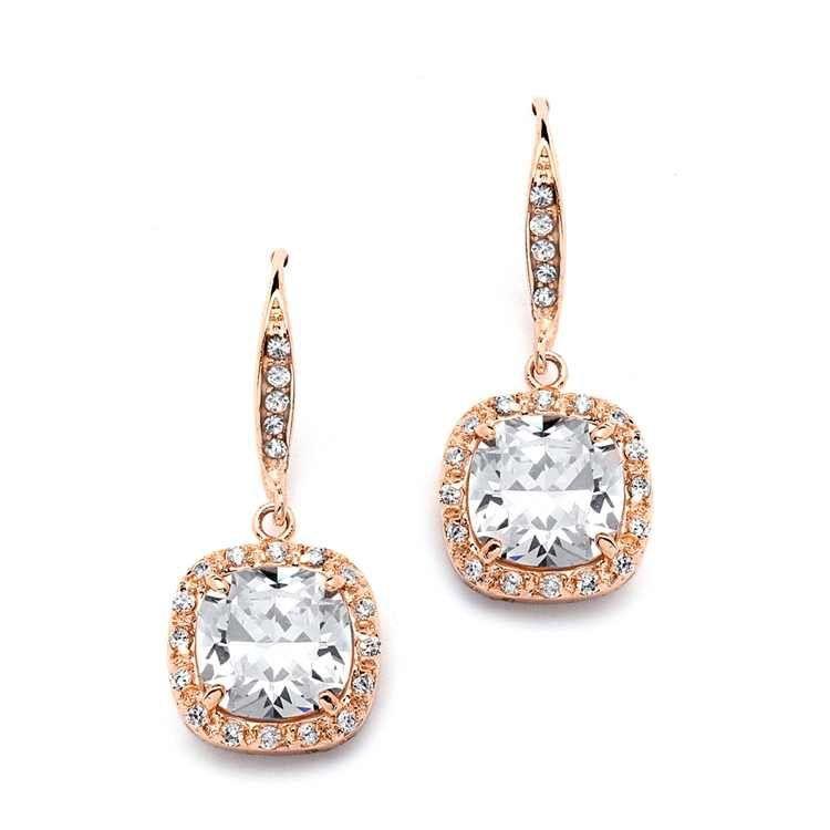 Cushion Cut CZ Earrings   Rose Gold - The Jewel House   Free Shipping thejewelhouse.yolasite.com #Earrings #Jewelry #Bridal #Evening