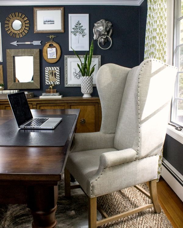 Dramatic Dark Walls In This Home Office With Large Desk And Wing Back Chair Eclecticallyvintage