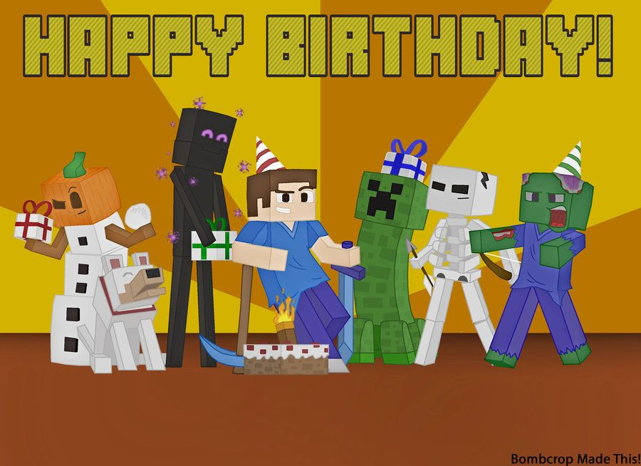 Ambitious image with minecraft birthday card printable