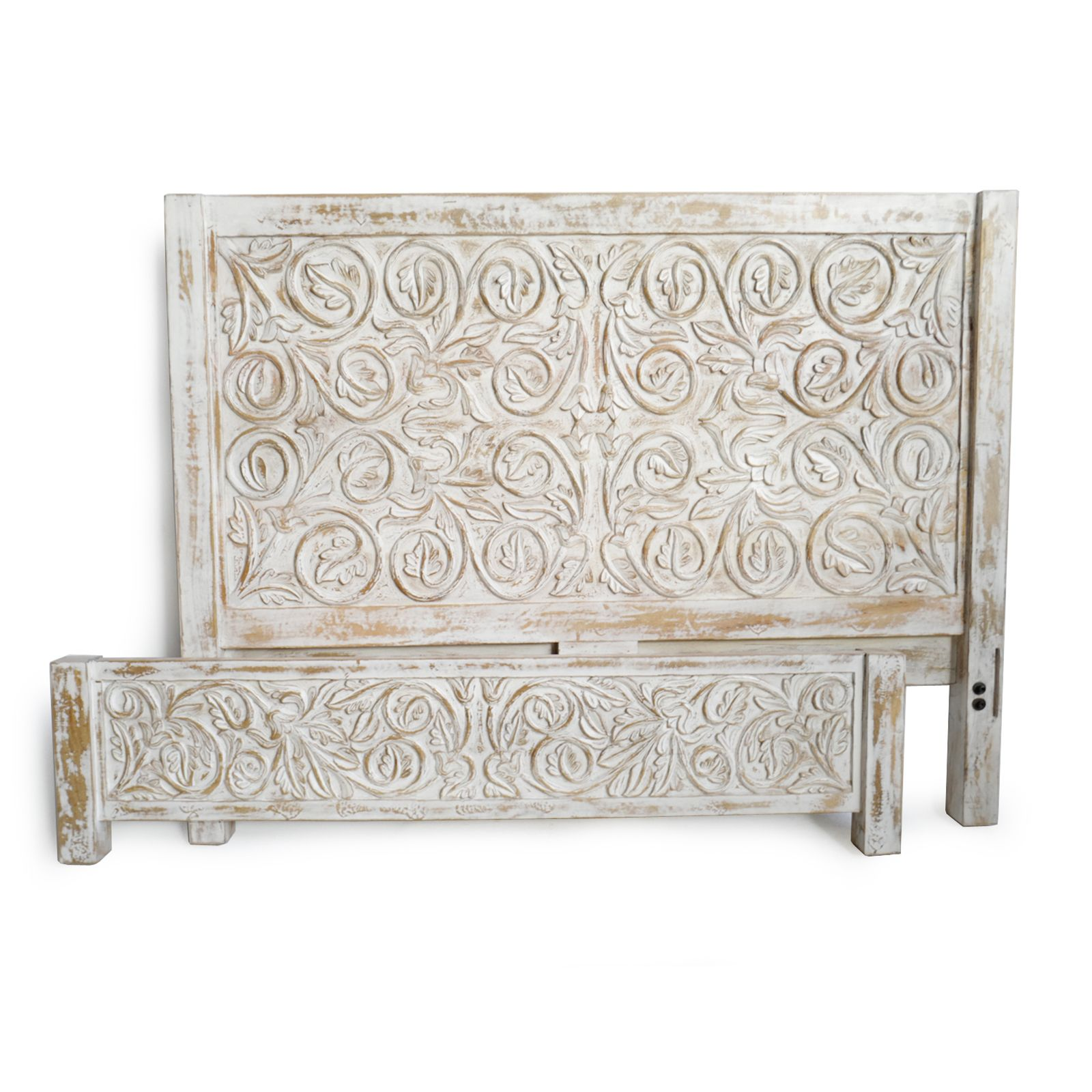 Beautiful White Wash Leaf Scroll Design Mango Wood Queen Bed Frame