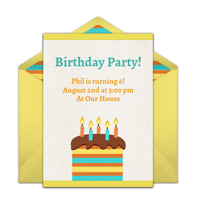 Free birthday party invitation with a cheerful birthday cake design. Love this design for Summer birthday parties for any age!
