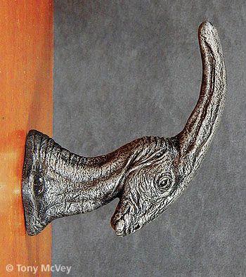Dino Door Knobs - Die-cast oxidized dinosaur door knobs and coat ...