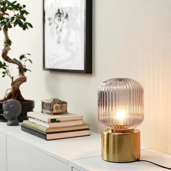 Solklint Tischleuchte Messing Klarglas Grau 28 Cm Ikea Deutschland Ikea Table Lamp Glass Bedside Table Lamps Brass Table Lamps
