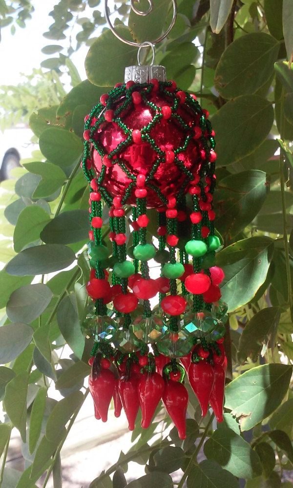 Red Chili Pepper Ornament, Christmas, Chilies, Beaded Ornament, Unique Ornament, Fun Ornament, Green and red Ornament, Large Chili Ornament by DustDevilTreasures on Etsy