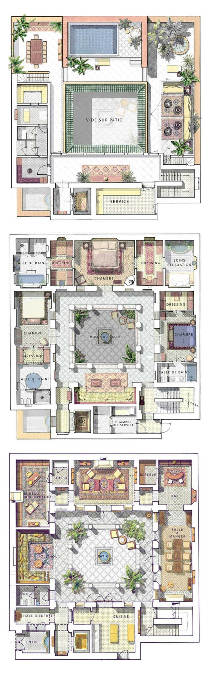 Pin By James Sundance On Architecture Riad Floor Plan Courtyard House Plans House Plans