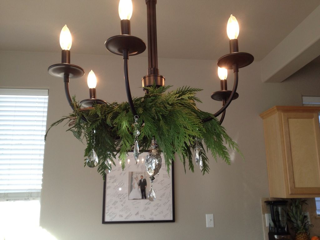 simple chandelier - stunning with cedar and crystal at Christmas ...
