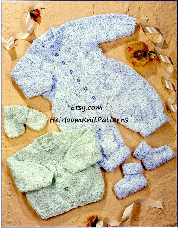 9c992a3b39e6 Baby Cardigan Romper Suit Bootees Mitts Knitting Pattern 16-18-20 ...