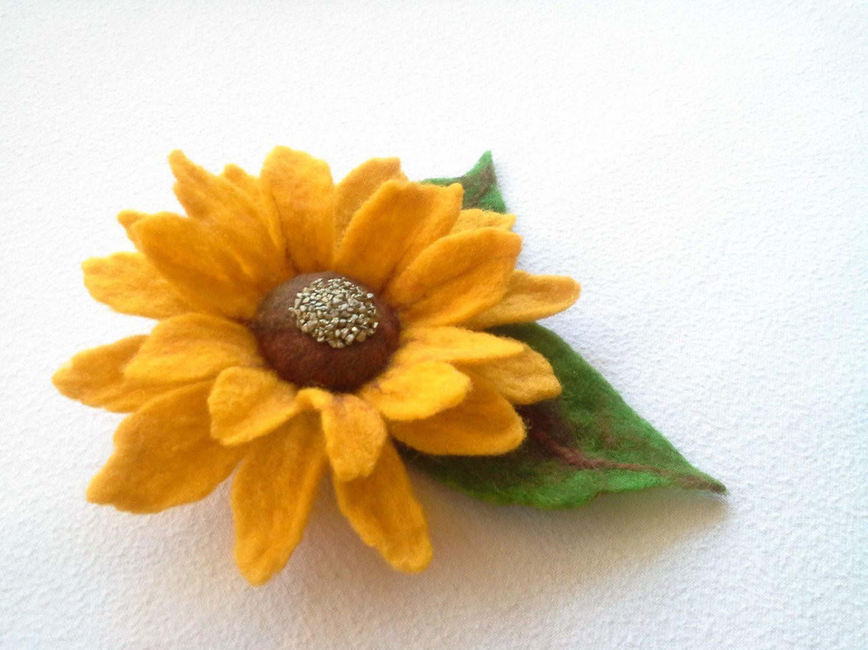 Felt Brooch Yellow Wool Felt Sunflower Felt Flower Pin Green Pin