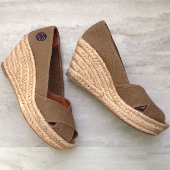 85c67924fb1 Tory Burch Filipa Canvas Wedges Canvas peep toe wedges from Tory Burch  featuring leather details on