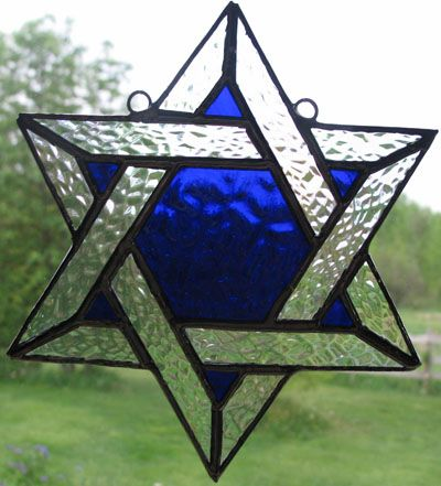 1 Sky Blue Handmade Fused Glass Star