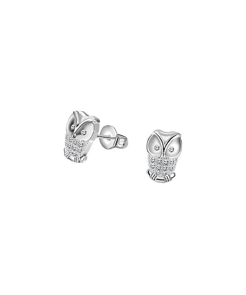 ba8f810da Cubic Zirconia & White Gold Owl Stud Earrings by Riakoob #zulily  #zulilyfinds