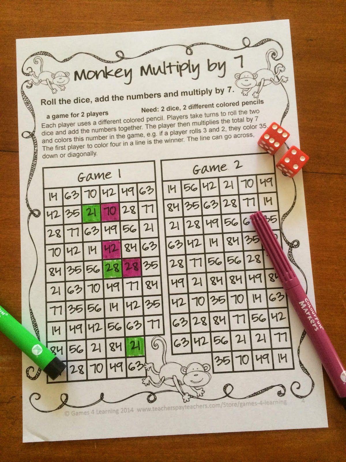 More No Prep Math Games Freebies Multiplication Math Game