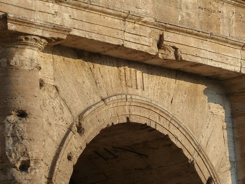 Image result for Entrance LII of the Colosseum, with Roman numerals still visible
