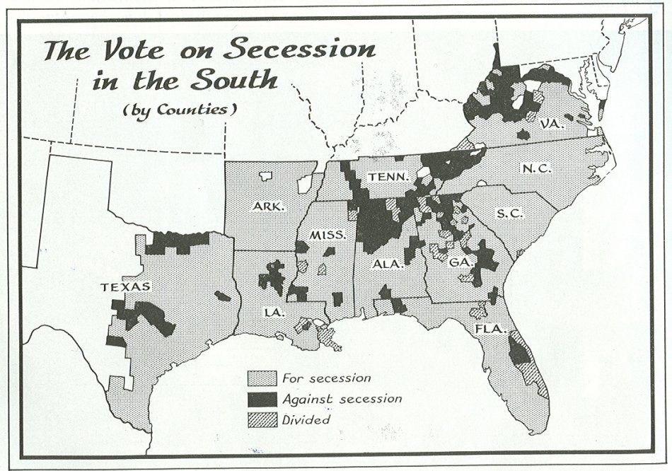 Confederate Secession Vote By County The Civil - Us map by county for the american vote