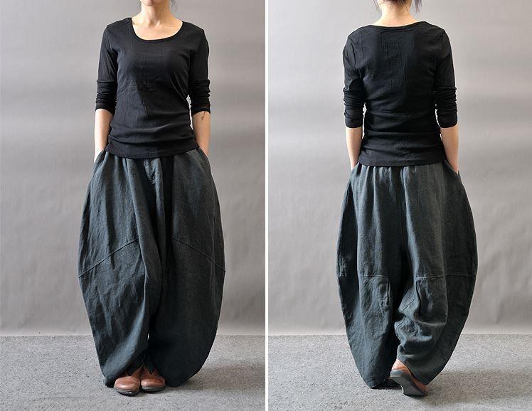 women winter and autumn plus size linen harem pants - tkdress - 7