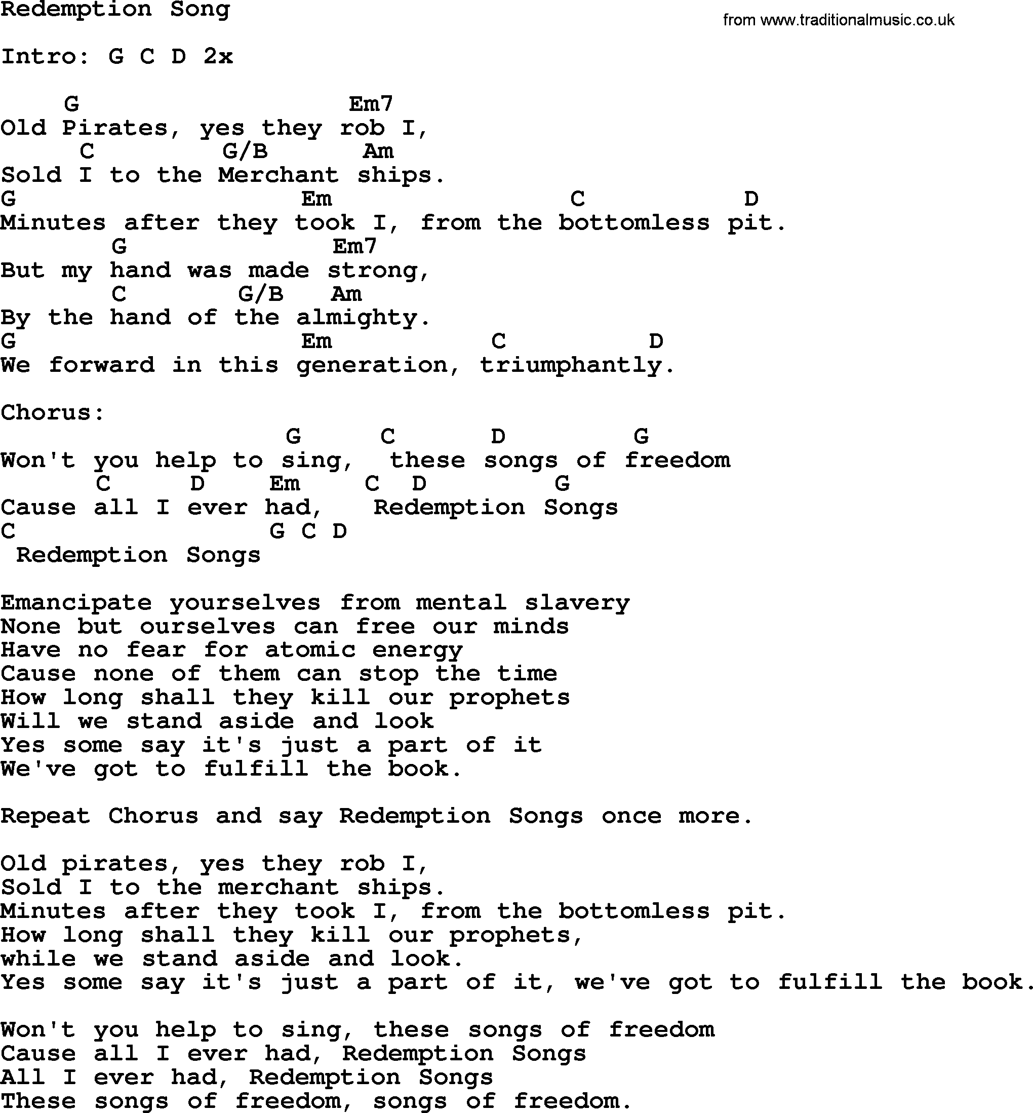 Redemption Song Lyrics And Chords Bob Marley Cover Emancipate
