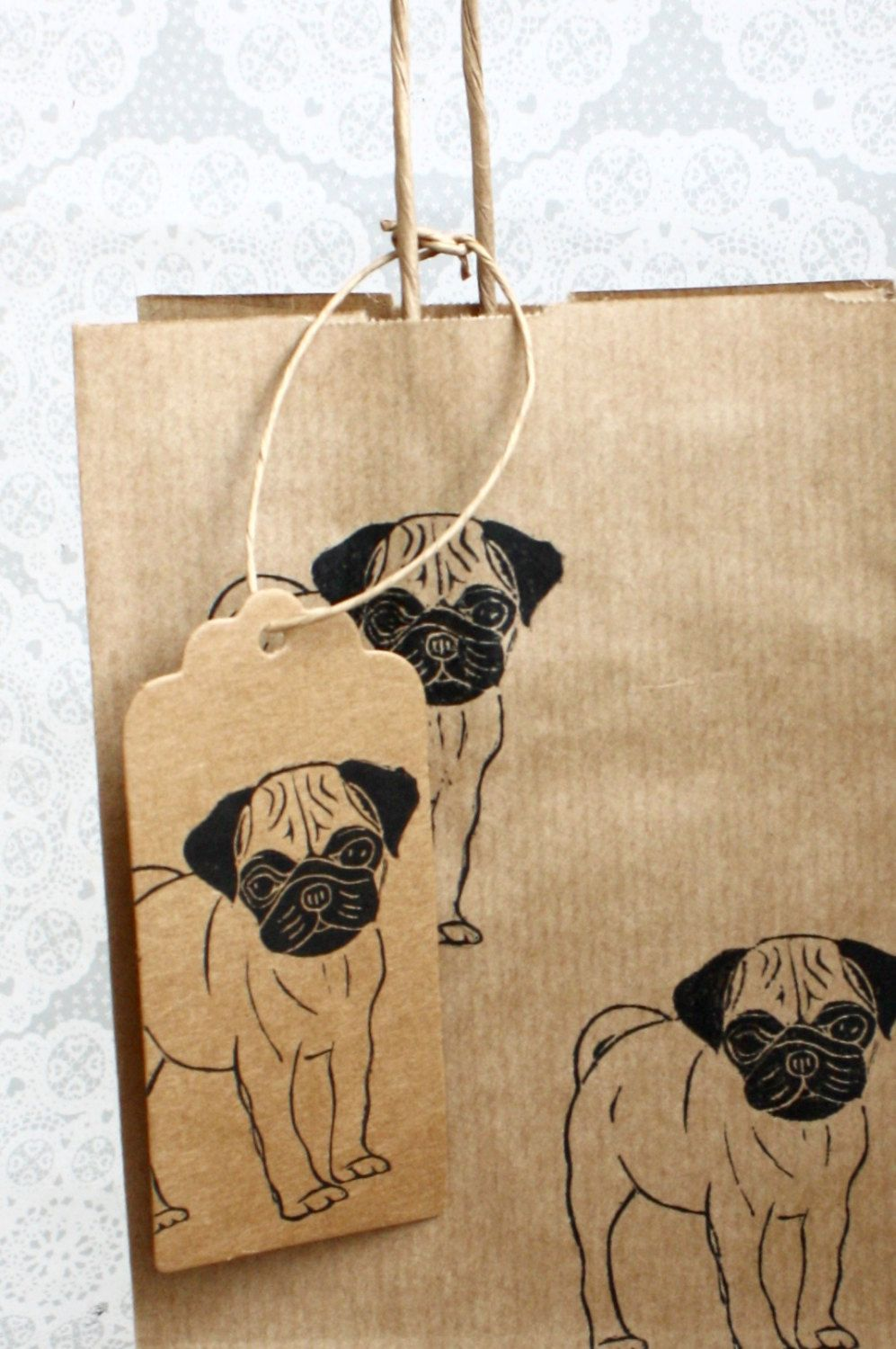 Pug Gift Bag Set With Matching Tag Gift Wrap Greeting Cards