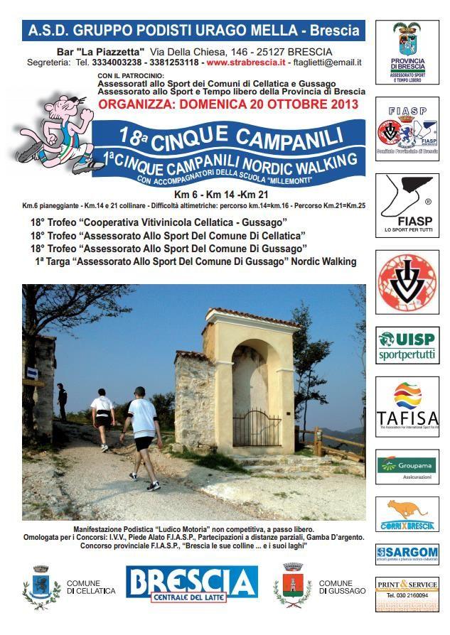 """Domenica 20 ottobre si corre la 18^ edizione de i """"Cinque campanili"""" - http://www.gussagonews.it/cinque-campanili-ottobre-gussago-2013/"""