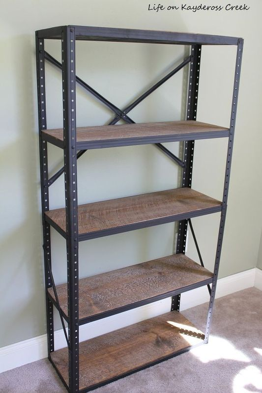 diy industrial style bookshelf downstairs bedroom makeover pinterest m bel regal und. Black Bedroom Furniture Sets. Home Design Ideas