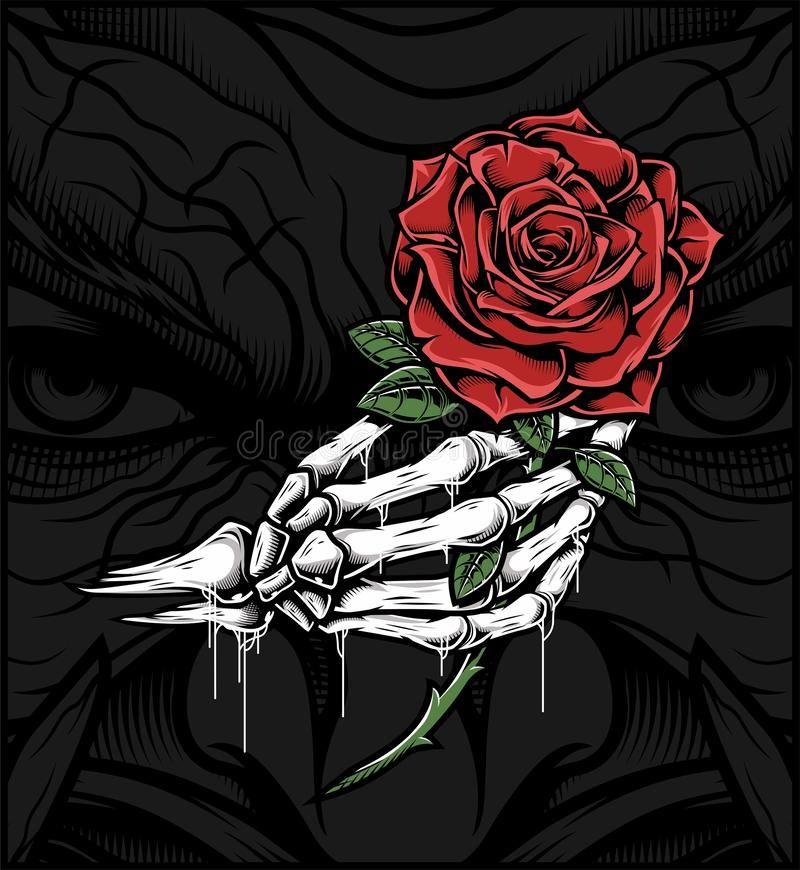 Skull hand holding a rose vector illustration in 2020