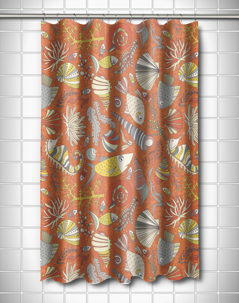 Sea Life Rust Shower Curtain With Images Nautical Shower